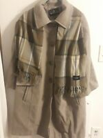 London fog Womens 2X Gray/4 Button With Scarf Jacket