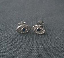 Sólido 925 plata esterlina mal de ojo Cubic Zirconia Aretes Rara