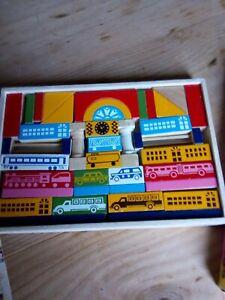 Vintage wooden building blocks in original box