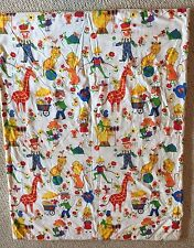 Vintage Handmade Quilt Circus Clown Throw Blanket GUC Kid's Baby Crib Seuss Zoo