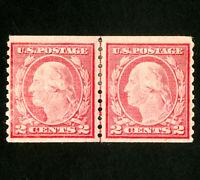 US Stamps # 453 VF Line pair OG H Scott Value $675.00