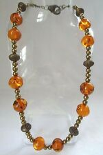 """Vintage Amber Bronze & Gold Bead Toggle Clasp Necklace 19 1/2"""""""
