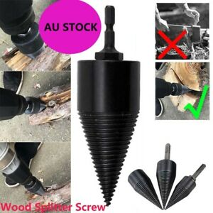 Wood Splitter Screw High Speed Twist Firewood Drill Bit Splitter Cone Driver AU