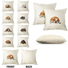 2X Dog Pillow Case Polyester Linen Home Decorative Cushion Cover Zipper Closure