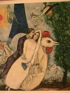 "1938-39 Chagall ""Bride & Groom Eiffel Tower"" Post Card 6.3 x 4.5 Small Art Print"