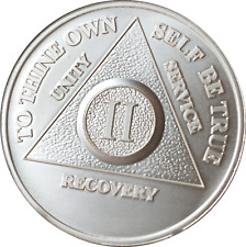 2 Year .999 Fine Silver AA Alcoholics Anonymous Medallion Chip Coin II Two