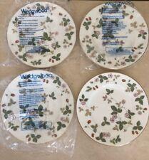 Wedgwood England Bone China Wild Strawberry Salad/Dessert Plates - Set Of 4! NEW