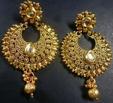 Antique Gold Plated Kundan Polki Indian CZ Drop Wedding Party Wear Earrings c