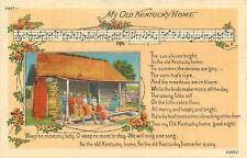 My Old Kentucky Home~Music Staff~Notes~Lyrics~Black Family~Cabin~1940s Postcard