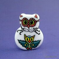 """SIR PUFF & THE OWL"" a handmade lampwork glass CAT pendant focal bead byKayo SRA"