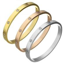 Fashion Gold/Rose/Oril Stainless Steel Bangle Rhinestone Bracelet Charm Jewelry
