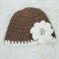 Hand Crocheted Baby Girl Flower & Rhinestone Beanie Milk Chocolate Ivory NWOT