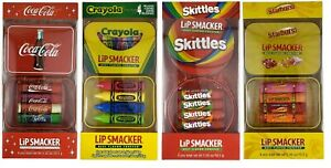 Lip Smacker 4pc Lip Balm Tin Sets * Starburst Skittles Coca Cola Crayola CHOOSE