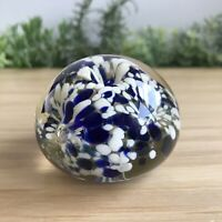 Italian Art Glass Vintage Paperweight Blue White Detail Dome 200g - 5.8cm Wide