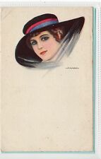 GIRL IN A HAT: Glamour postcard by Nanni (C13297)