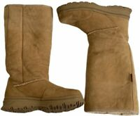 Cabela  Boots Size 7 M Suede Brown Genuine Sherling Fur Lined Tall Winter