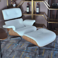 New White Leather & Ashwood Eame-s Style Lounge Chair & Ottoman With Top Quality