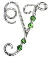 Chrome Diopside Letter Y Gemstone Pendant Sterling Silver + Chain