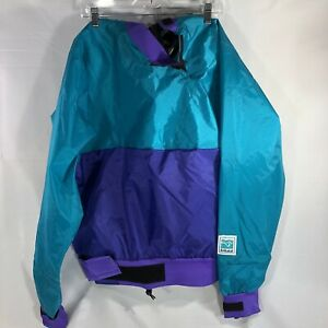 Kokatat Dry Top Paddling Kayak Jacket Neck Wrist Gaske Blue Purple Color Block