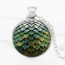 Green Dragon Scale Glass Cabochon Pendant Necklace Game of Thrones Harry Potter.