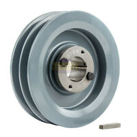 """Cast Iron 6.25"""" 2 Groove Dual Belt B Section 5L Pulley And 1-3/8"""" Sheave Bushing"""