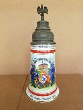 Vintage GERMAN REGIMENTAL MILITARY LITHOPHANE Lidded Beer Stein - Bird