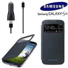 GENUINE Samsung Galaxy S4 S View Flip Cover Case Accessory Pack + Car Charger