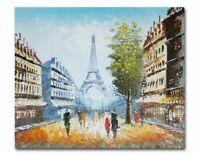 """Huile sur toile """"Paris et la Tour Eiffel"""" 50 x 60 cm"""