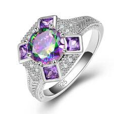 Amethyst Charm & Rainbow & White Topaz Gemstone Silver Ring Size L N P R JEWELRY