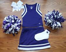 PRETTY PURPLE CHEERLEADER COSTUME OUTFIT HALLOWEEN 4 5 DELUXE POM POMS BOW SOCKS