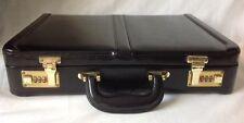 Harbour Black American Leather Briefcase Attache Case w Combination Lock A206