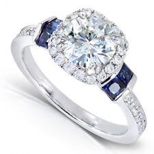 7 MM Near White Round Moissanite Diamond 14K White Gold Anniversary Jewelry RinG