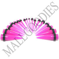 """V028 Acrylic Hot Pink Stretchers Tapers Expander Ear Plugs 14G to 1"""" Taper Kit"""