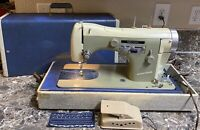 Necchi Bu Supernova Vintage Sewing Machine Heavy Duty With Case Foot Pedal Used