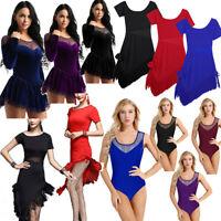 Women Ladies Lyrical Dress Ballroom Latin Ballet Dance Costume Leotard Dress 4XL