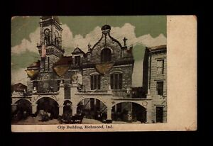 POSTCARD : INDIANA - RICHMOND IN - CITY BUILDING 1912 VIEW