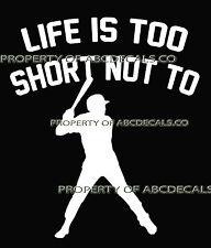 LIFE 2 SHORT BASEBALL Batter Hitter w Bat Ball at Plate Car Decal Wall Sticker