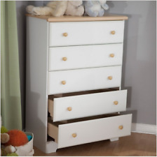 Chest Of Drawers Large 5 Drawer White Bedroom Wood Storage Dresser Furniture New