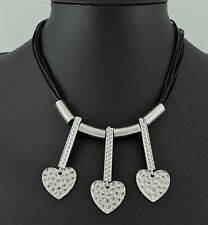 Multi Row Black Cords Silver Hammered Hearts Necklace Lagenlook Jewelle