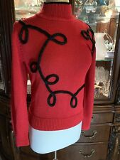 RED Lillie Rubin TurtleNeck Sweater Santana Knit SMALL BLACK LASSO