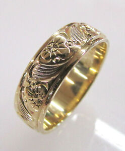 14K Yellow Gold 6mm Wide Sun & Waves Design Wedding Band Ring 5g Size 8