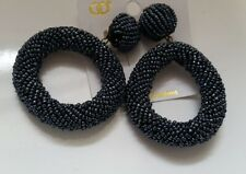 Boho Style Kumihimo Beaded Metallic Gray Large Ring Stud Earrings Z3-Grey/22