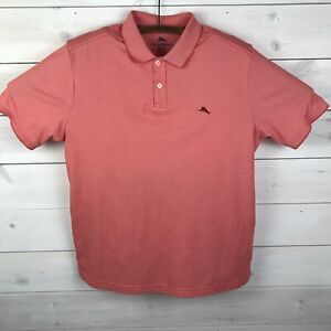 Tommy Bahama Mens Golf Polo Shirt Orange Short Sleeve Marlin Logo Size XL