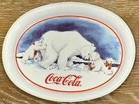 Collectible Vintage Tin 1996 Coca Cola Polar Bear Push Tray