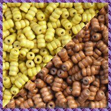 100 Perles Legno Tubo 2 coloris Marrone chiaro / Giallo