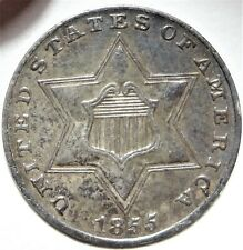 1855 Three Cent Silver Almost Uncirculated AU Key Date Type 2 Two 3cS Coin RPD