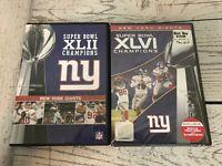 Lot of 2 Super Bowl XLII & XLVI NFL Champions New York Giants DVD's