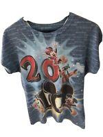 Disneyland Resort 2010 Women's Mickey Minnie Pluto Glitter Rhinestone T-Shirt L