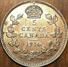 1916 CANADA SILVER 5 CENTS COIN - Fantastic example!