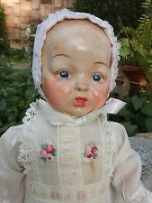 Rare Ooak1911 antique Composition Baby doll, Vguc, stuffed body, baby bunting